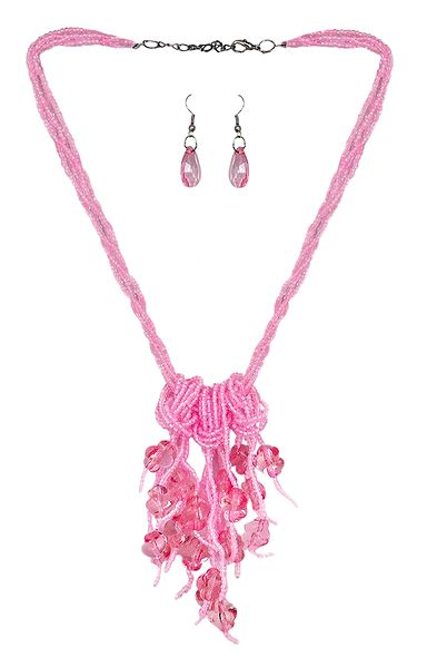 Pink Beaded Necklace and Earrings