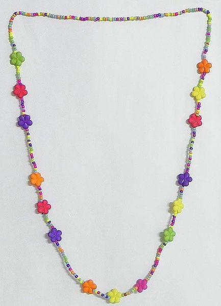 Multicolor Acrylic Bead Tibetan Necklace Set