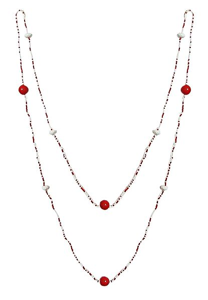 Red with White Bead Necklace