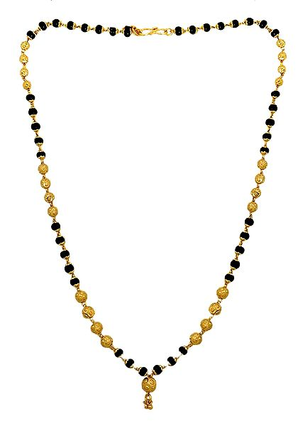 Black Bead Necklace with Gold Plated Beads