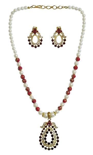 White and Maroon Stone Studded Party Necklace with Earrings