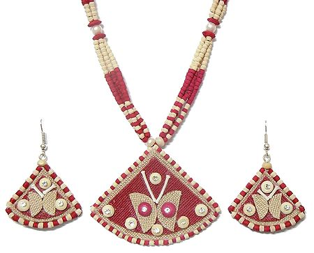 Dark Red and Off-White Bead Necklace with Jute Pendant and Earrings