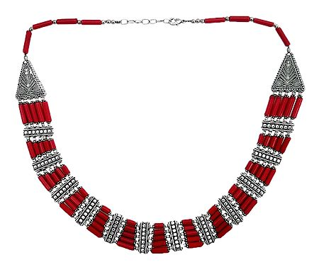 Red Stone Bead Tibetan Necklace