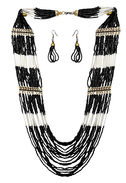 Black Bead Tibetan Necklace and Earrings