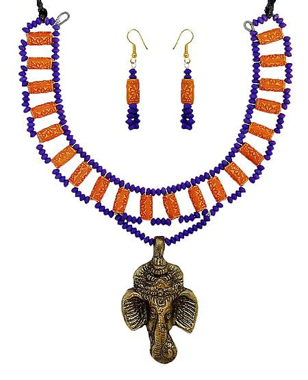 Bead Necklace with Brass Ganesha Pendant and Earrings