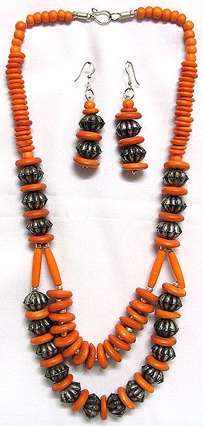 Tibetan Bead Necklace and Earrings