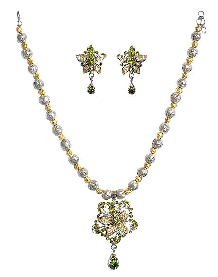 Green with White Stone Studded Necklace and Earrings