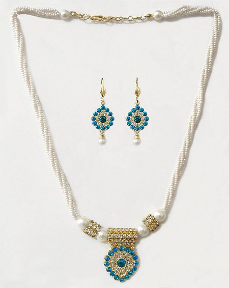 White Bead Necklace with White and Blue Stone Studded Pendant and Earrings