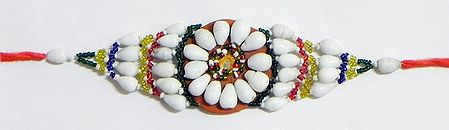 White and Multicolor Beaded Armlet on Saffron Cloth