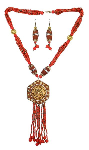 Red Bead Necklace with Jhalar Metal Pendant and Earrings