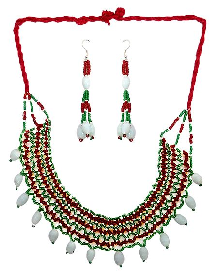 Multicolor Bead Necklace and Earrings