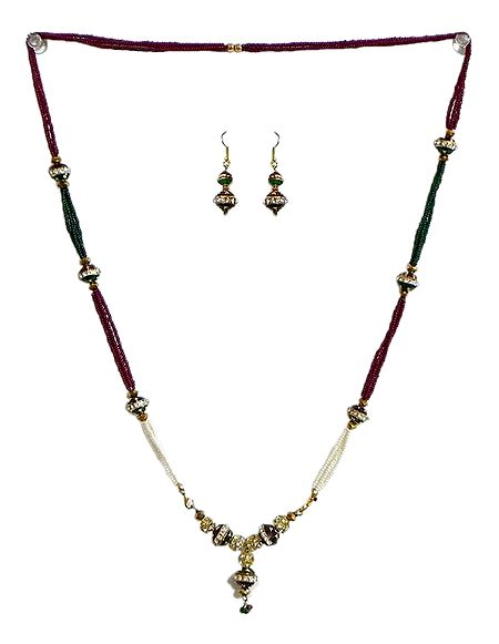 Multicolor Beaded Necklace with Pendant and Earrings