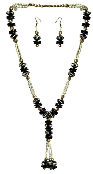 Black, Golden and White Bead Necklace with Earrings