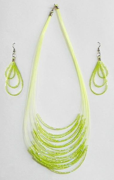 Light Green Bead Necklace and Earrings