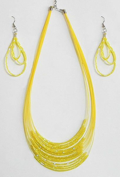 Light Yellow Bead Necklace and Earrings