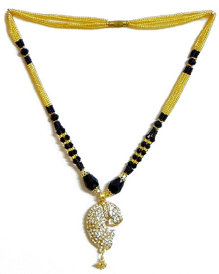 Black and Yellow Bead Necklace with White Stone Studded Pendant