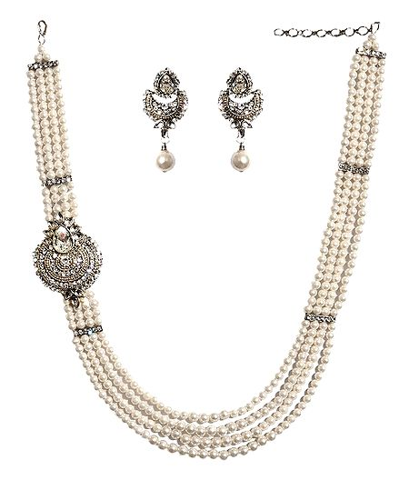 White Stone Studded and Beaded Necklace Set
