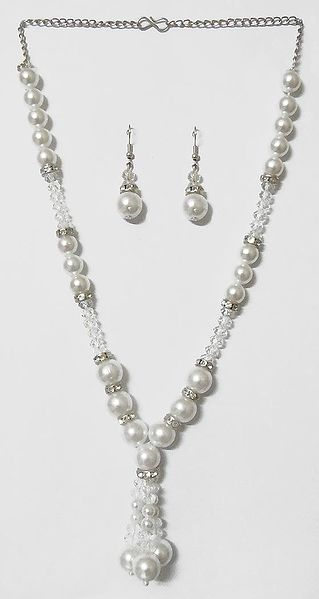 White Stone Studded Faux Pearl and Crystal Bead Necklace with Earrings