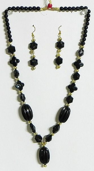 Black and Golden Bead Tibetan Necklace with Earrings