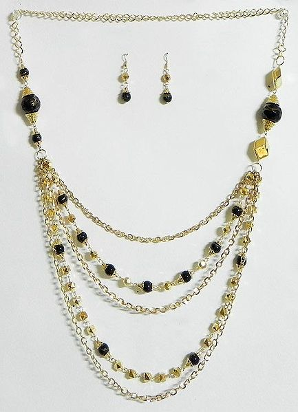 Five Layer Golden Chain with Black Bead Necklace and Earrings