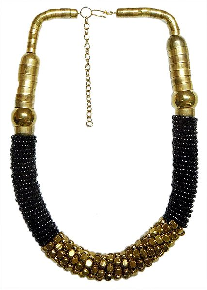 Black Glass with Brass Bead Necklace