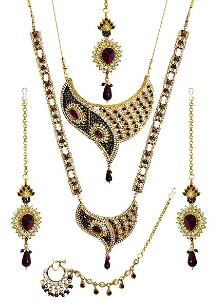 Faux Garnet and Cubic Zirconia Twin Necklace Set with Mang Tika