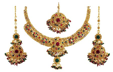 Faux Amber, Emerald and Ruby Necklace Set with Mang Tika