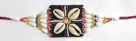 Multicolor Beaded Armlet with Cowrie on Black Cloth
