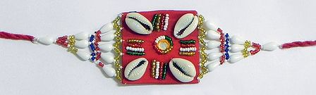 Multicolor Beaded Armlet with Cowrie on Red Cloth