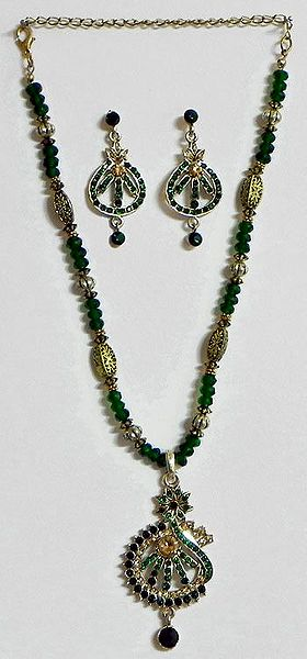 Green Stone Studded Crystal Bead Necklace with Earrings