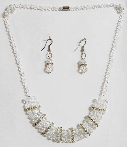 White Crystal Bead Necklace with Earrings