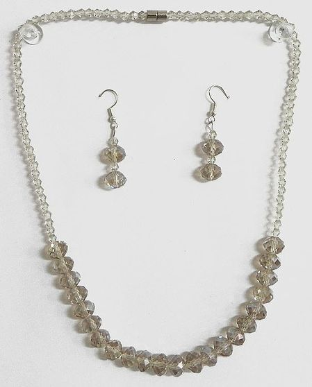 Crystal Bead Necklace with Earrings