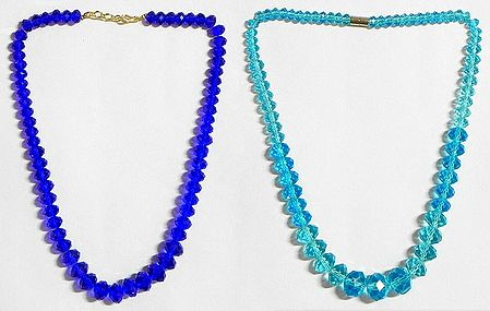 Dark Blue and Light Cyan Crystal Bead Necklace