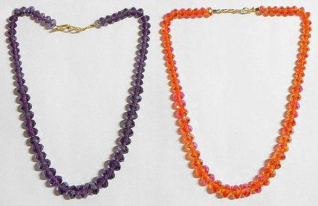 Dark Purple and Dark Saffron  Crystal Bead Necklace