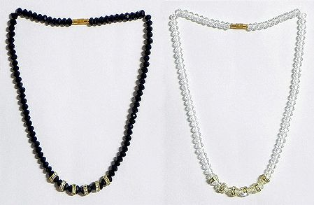 Black and White Crystal Bead Necklace