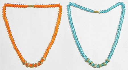 Saffron and Cyan Blue Crystal Bead Necklace