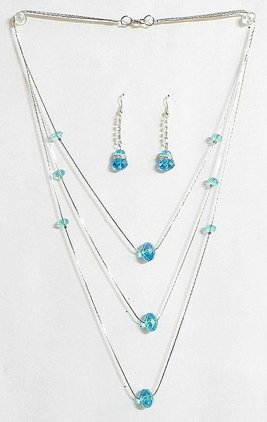 Cyan Blue Crystal Bead Three Layer Necklace
