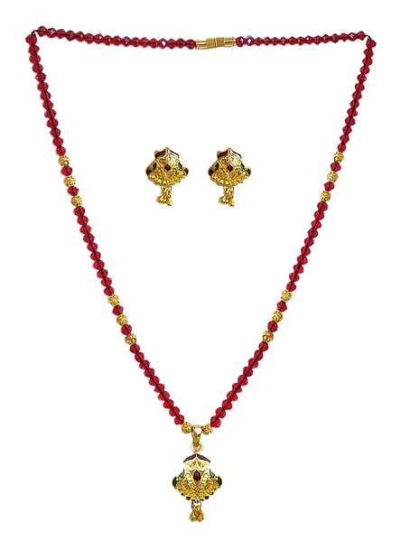 Red Crystal and Carved Gold Plated Bead Necklace Set