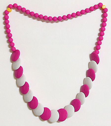 Dark Magenta and White Bead Necklace