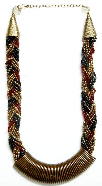 Red, Golden and Black Beaded Braid Necklace