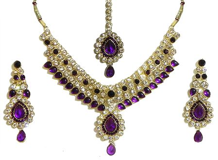 Faux Amethyst and Cubic Zirconia Necklace Set with Mang Tika