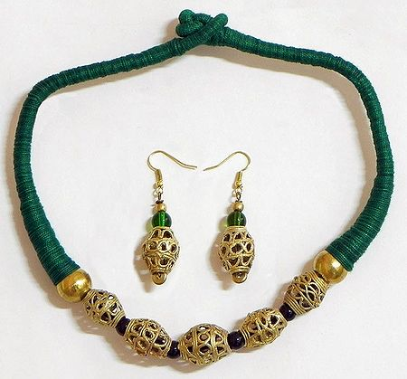 Dhokra Necklace Set with Green Threaded Cord