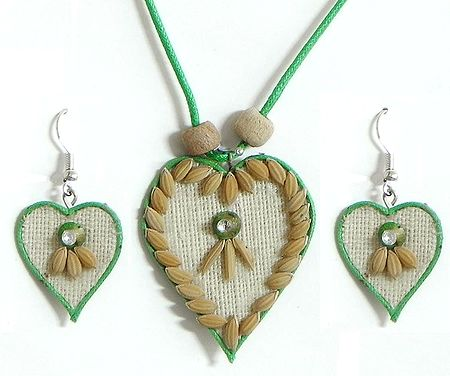 Green Corded Heart Pendant and Earrings Decorated with Off White Wooden Beads and Paddy Rice