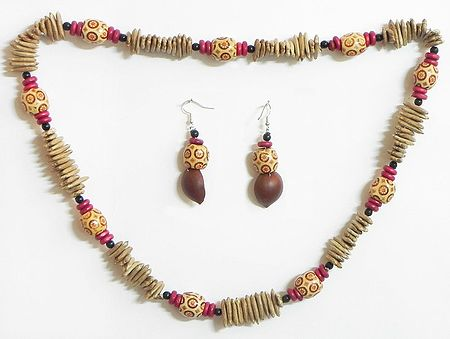 Beige and Maroon Wooden Beads with Natural Seed Necklace and Earrings