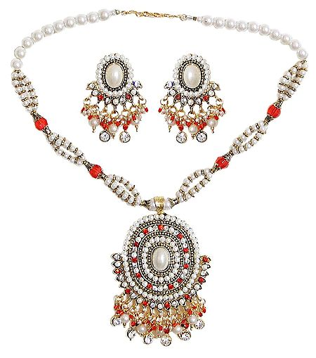 Faux Pearl Necklace with Earrings