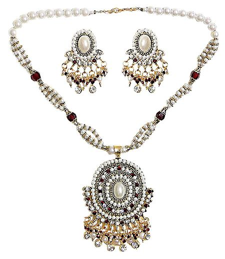 Faux Pearl and Stone Studded Necklace with Earrings