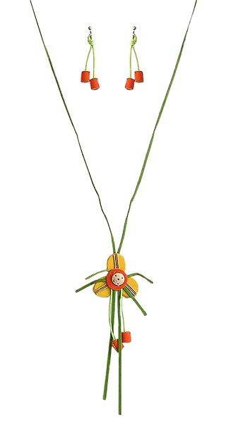 Green, Yellow and Saffron Felt Necklace with Earrings