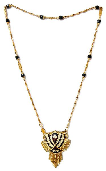Gold Plated Chain with Black Crystal Necklace