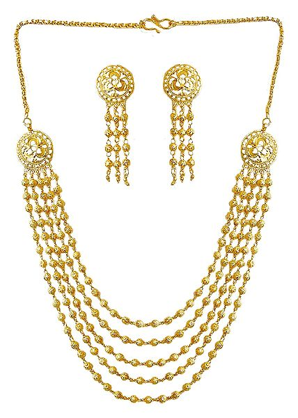 Gold Plated 4 Layer Necklace with Earrings