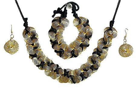 Golden Wire Necklace with Black Cord, Bracelet and Earrings